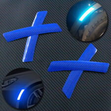 4pcs Reflective Blue Car Wheel Eyebrows Sticker Warning Sign Self-adhesive