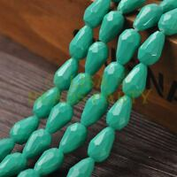 New Arrival 10pcs 16X10mm Faceted Teardrop Loose Spacer Glass Beads Lake Green