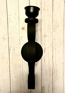 Beautiful Vintage Black Scroll Wrought Iron Wall Hanging Single Candle Holder