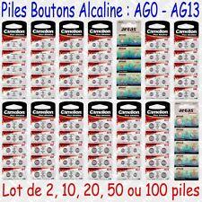 Piles boutons Oxyde d'Argent 1,55V type G0 G1 G2 G3 G4 G6 G7 G9 G10 G11 G12 G13