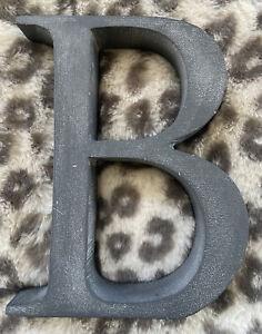 "Decorative Letter Initial B - 3D Metal Stone Iron 6"" x 5"""