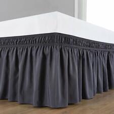 US Wrap Around Three Sides Elastic Ruffle Cotton BedSkirt/Valance Dark Grey