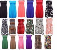 Sheering Boob Tube Gather Bandeau Women Top Ladies Mini Dress Plus Size UK 8-24