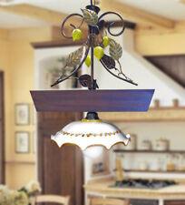 Bilancere lampadario rustico ferro battuto ceramica di caltagirone legno e lime