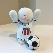 Rare Sarah's Attic Snowonders Goal Patriotic Us Soccer Snowman Figurine 7536 Euc