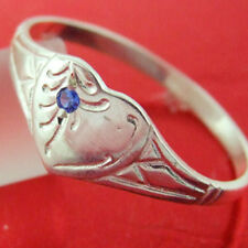 RING GENUINE REAL 925 STERLING SILVER SAPPHIRE ENGRAVED HEART SIGNET DESIGN SZ P