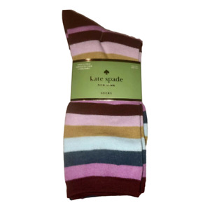 Kate Spade TROUSER 3 PACK SOCK SET STRIPE, BLUE SOLID, PINK POLKA DOT NEW NWT
