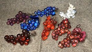 LOT OF 8 VINTAGE ACRYLIC RESIN GRAPE CLUSTERS