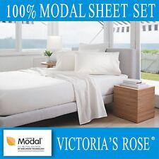 A+ Quality 4pc Bedding Bed Sheet Set V-Rose 100% Lenzing Modal Queen White Color