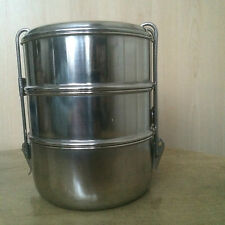 Stainless Steel Tiffin Billy Pot Camping 3-Tier 8x3