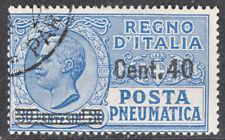 USED ITALY #D14 KING VICTOR EMMANUEL III POSTA PNEUMATICA 40C OVERPRINT CV$425.0