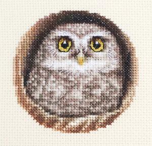 LITTLE OWL Bird ~ Full counted cross stitch kit + all materials *Fido Stitch