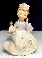 """Vintage Lefton Girl 4"""" Figurine Holding a Parasol of Flowers #2643 - Japan"""