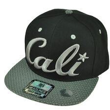 Cali California Diamond Pattern Flat Bill Black Hat Cap Snapback Gray Logo