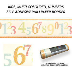 Kids, Multi coloured, Numbers, Self Adhesive Wallpaper Border - 25