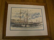 L A Dunton, Mystic Sea Port Watercolor Print, Paul Norton 1964 in worm frame