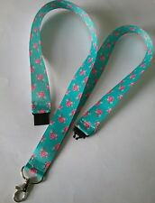Turquise & pink rose ribbon lanyard breakaway ID holder teacher gift