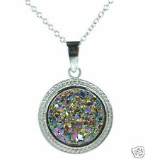 Solid 925 Sterling Silver Multi-Color Round Druzy Pendant Necklace '