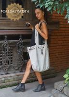 Oversized Tote Drawstring Cotton Bag Shopping Minimal Eco Two Colour Women's