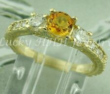 1.40 ct 14k Solid Yellow Gold Natural Diamond Yellow Sapphire Ring made in USA