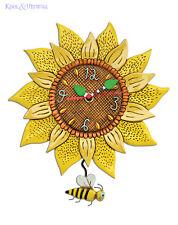 Gorgeous BEE SUNNY Sunflower Designer Wall Clock by Allen Designs