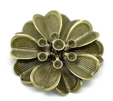 20 New Bronze Art Deco Flower Embellishments Findings DIY Jewelry Making