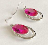 "Vintage Large Pink Faceted Rhinestone Silver Tone Drop Pierced Earrings 3/4"" x"