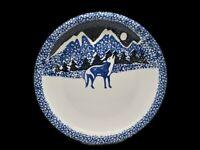 "Tienshan Folk Craft Wolf 12"" Round Serving  Platter Dish Plate Sponge Pattern"