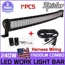 240W 42 Inch LED Light Bar Combo Beam Curved Work Off road Truck Boat+Wiring kit