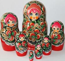 Babuska matrioska bambole di legno con fragole, matrioske russe matriosche 7pc