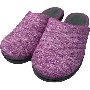 Isotoner Womens Slip-On Slipper Purple Black Heathered 7.5-8 New