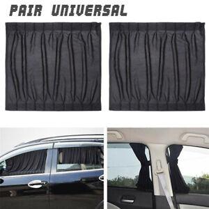 2Pcs Car Side Window Sun Shade Cover Interlock Curtains UV Block Sunshade Visor