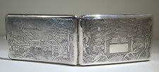Chinese Sterling Silver Cigarette Case Dragon & Pagoda Motif Circa 1930s