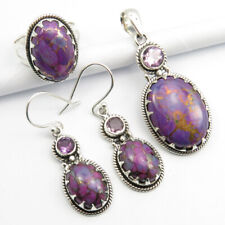 925 Silver Natural MOHAVE TURQUOISE & AMETHYST Pendant Earrings Ring Sz 8 SET