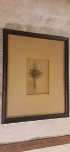 1800s antique sketch/ print of  tall sail ship signed M.M.S
