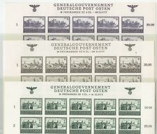 POLAND-1943-1944  GENERALGOUVERNEMENT-DEUTSCHE POST OSTEN 3 IMPERFORATED  SHEETS