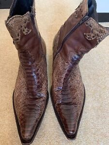 Snake skin and Leather boots - Italian Size 44   UK10