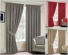 Fully Lined Ready-made Pencil pleat Heavy Brushed ICON Plain Curtains & TieBacks