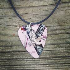 Pink Mossy Oak Camo Guitar Pick Cowboy Boot Charm Country Girl Black Necklace