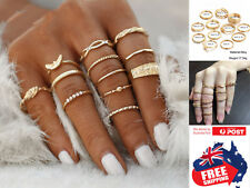 12pcs Rose Gold Women's Boho Midi Finger Rings Set Stack Above Knuckle Jewelry