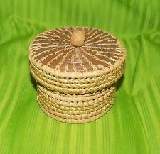 Handmade Raffia Pine Needles Woven W/ lid Lidded Basket