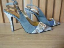 Babyphat stunning blue & gold denim slingback high heel shoes US size 8.5B Uk6.5