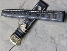 Vintage black 18mm rally watch band contrast stitched yellow buckle European NOS