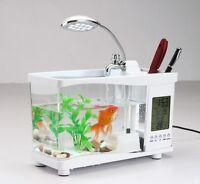 Mini USB Aquarium LCD Fish Tank Display Clock Led Lamp Light Black White Pink