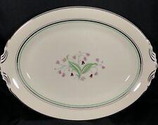 "Syracuse China Old Ivory Coralbel 14"" Oval Serving Platter Platinum Green Pink"