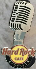 Hard Rock Cafe BRUSSELS 2013 Silver Microphone over Classic HRC Logo PIN #73249
