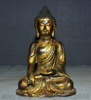 """13,6 """"Ancien temple en bronze doré de Thaïlande, statue du Bouddha Sakyamuni"""