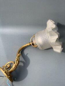 Jugendstil Wandlampe Messing vergoldet mit Glasschirm original um 1900