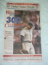 Nolan Ryan 300th Win -- Original Dallas Newspaper