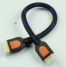 3D 1 Foot HDMI Cable for 1080P HDTV 1.4 braided gold 30cm short Hot Sell